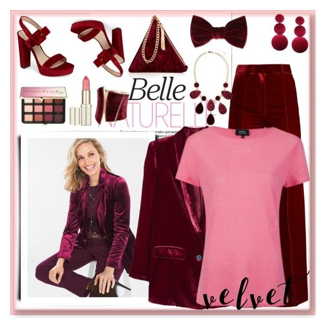 """""""Crushing on Velvet"""" by nefertiti1373 on Polyvore featuring Pelle Moda, Forever 21, Chico's, Street Level, Racil, GUESS by Marciano, Sephora Collection, MANGO, A.P.C. and velvet"""