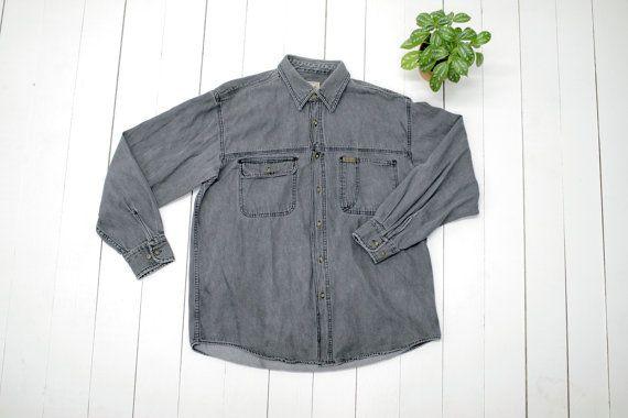 Bouton gris chambray MENS Vintage Woolrich par CitizenVintage #shirt #vintage #mensfashion #grey