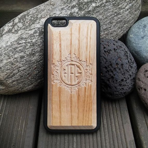 Carved Wood Phone Case  Personalized Monogram by mozzin on Etsy