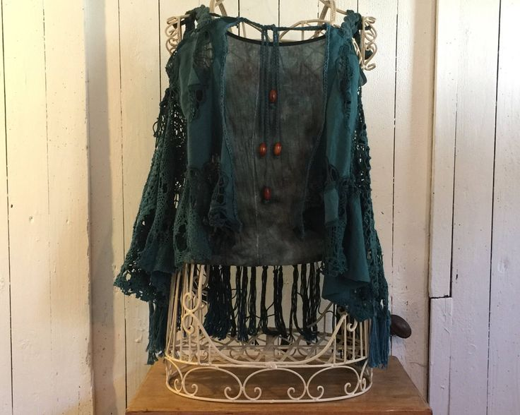 Boho Crochet Vest, Teal Cotton Doily Crochet, Lagenlook Style Cotton Gypsy Top, Hippie Clothes, Bohemian Style Top, Festival Clothes by SunshineDaffodil on Etsy https://www.etsy.com/uk/listing/524636147/boho-crochet-vest-teal-cotton-doily