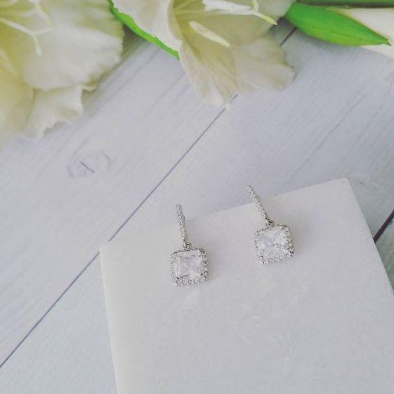 Bridal Earrings   Serenity Square Bridal CZ Drop Earrings