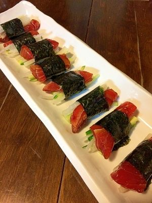 野菜たっぷり&おつまみ☆漬けマグロののり巻き レシピ・作り方 by きのこのみみ|楽天レシピ