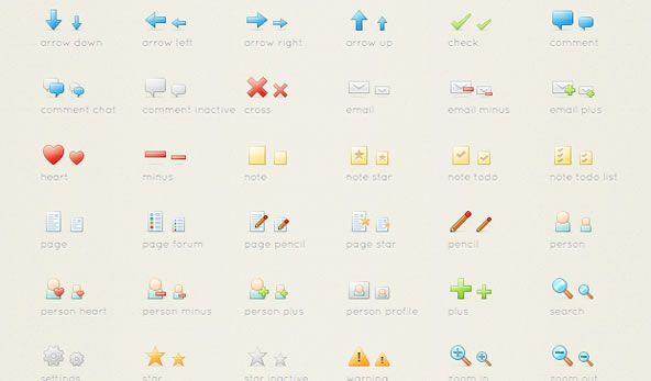 Free set of PNG icons - action icons
