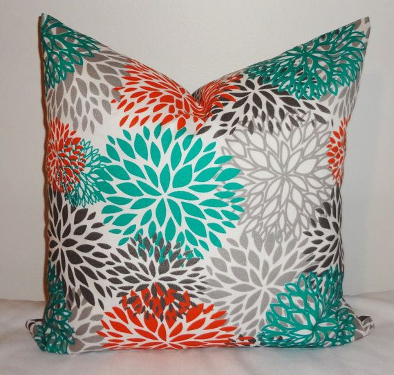OUTDOOR Pillow Flower Burst Teal Orange Grey Deck Patio Pillow Cover 18x18.  $18.00, Via
