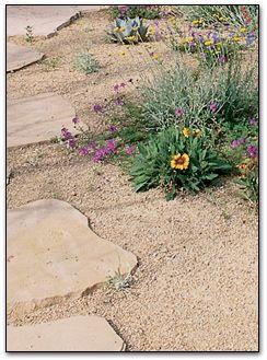 crushed granite, pavers, wild flowers