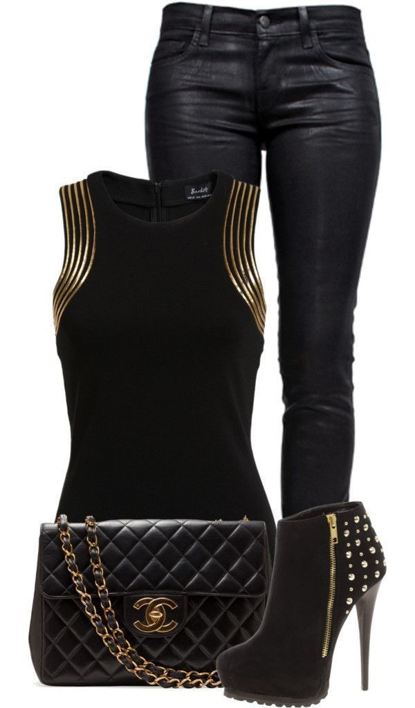 """Gold and Black"" by fashion-766 on Polyvore Clothes Casual Outift for • teens • movies • girls • women •. summer • fall • spring • winter • outfit ideas • dates • parties Polyvore :) Catalina Christiano #nightoutfitantro #womenclothingforfall"