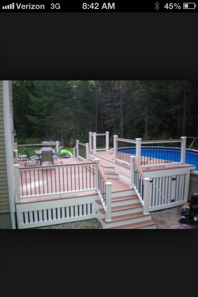 Small space deck ideas Love this for my house- out the back door to the deck and into the pool!