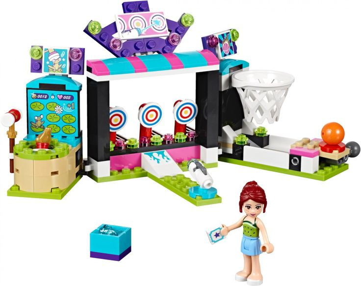 LEGO FRIENDS PRETPARK SPELLETJESHAL 41127- Probeer de 3 verschillende pretpark spelletjes met speciale functies: een basketbal-ring met afvuurhendel, een geweer met projectiel en mep-de-kikker. Inclusief minipoppetje. Bouw je eigen pretpark: https://www.olgo.nl/lego/friends/amusement-park.html