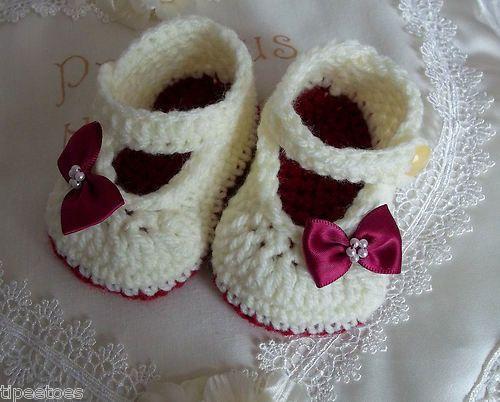 Baby Booties - Handmade Crochet Mary Jane Booties -Shoes ...
