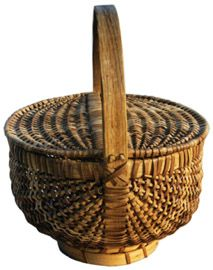 """Double Lidded Cherokee Basket  12"""" x 9""""    The basket on the left is an antique Cherokee Indian basket woven of white oak."""