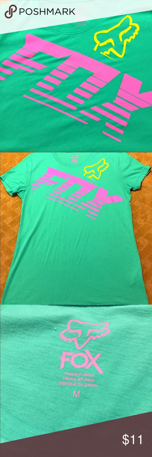 Fox Racing Womens Mint Green Pink Logo T-Shirt This is a gently used still in great condition Fox Racing Womens Mint Green Crew Neck T-Shirt in Mint Green with Pink Fox Logo. Fox Tops Tees - Short Sleeve