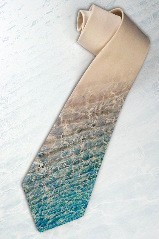 "Mens ""Ocean"" necktie. Tie for trendy traveler, optimist or stylish dude with unique taste in beach style. via Etsy."