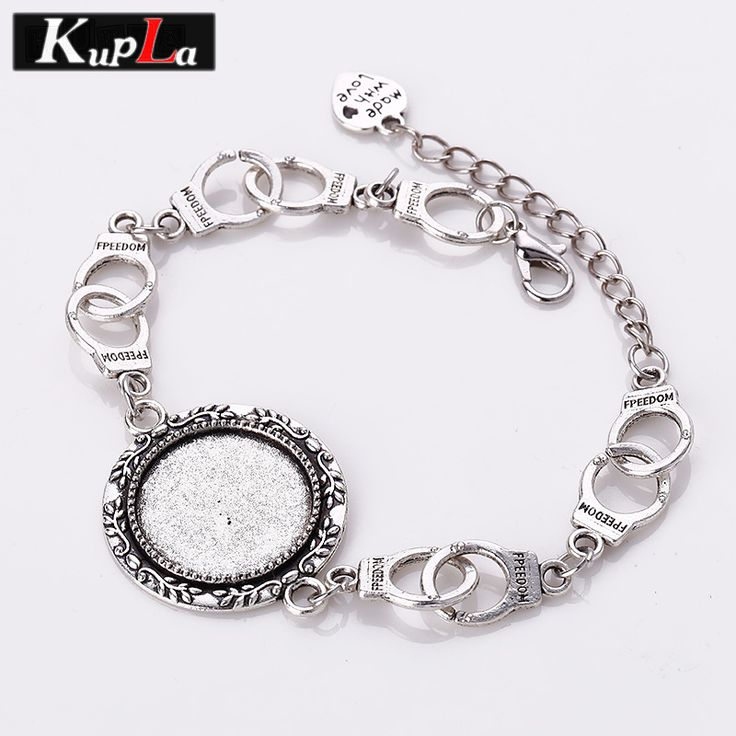 Vintage Metal Handcuffs Charms Bracelets 20mm Round Cabochon Setting Diy Design Jewelry Handcuffs Bracelets for Woman 3pcs C5806