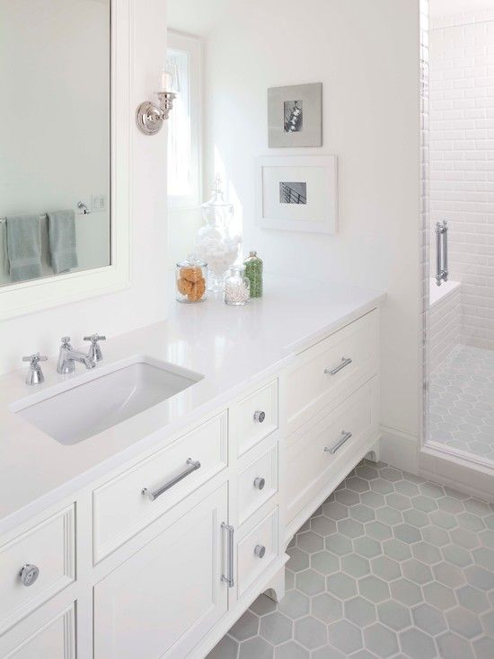 gray hex tile & love the extra vanity space