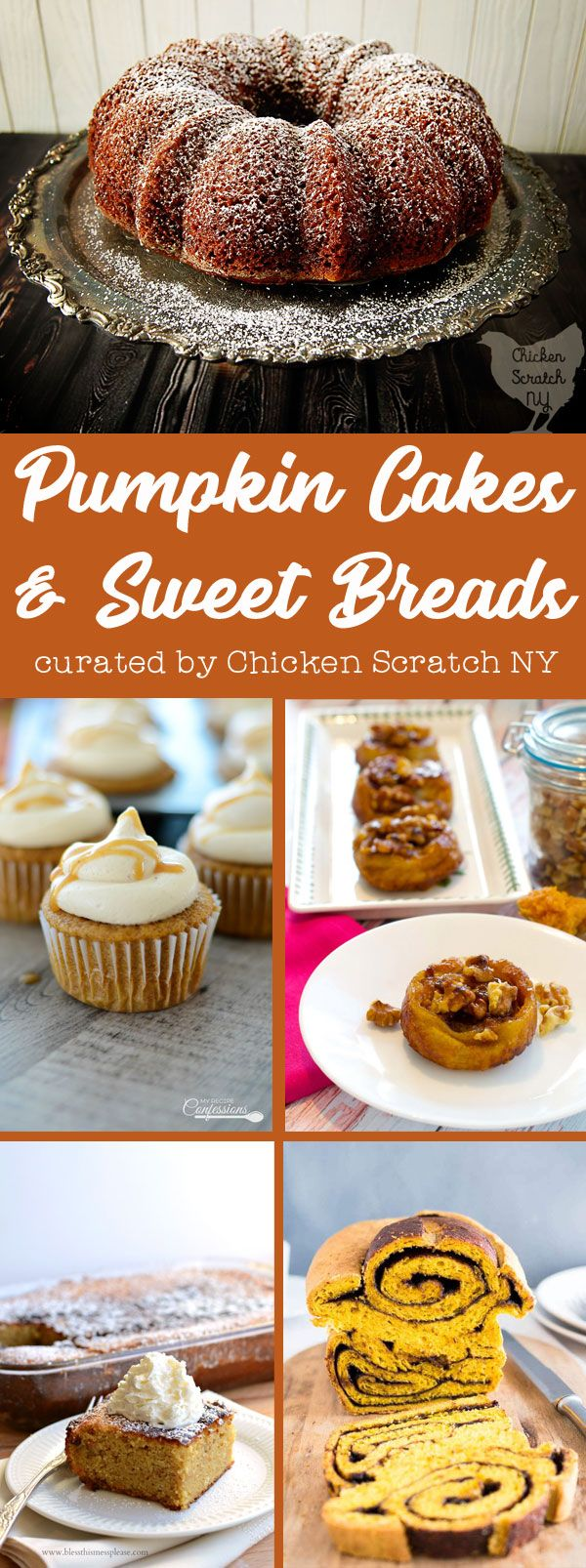 Recipes for 12 of the best Pumpkin Cakes & Breads the interent has to offer. #pumpkincake #pumpkinbread #pumpkin