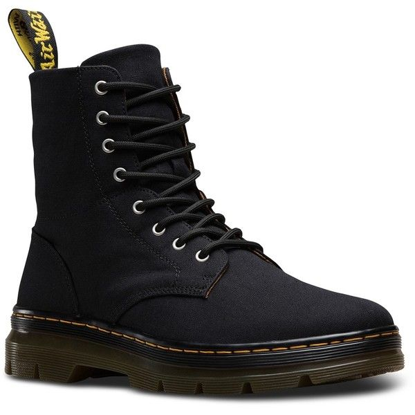 Dr. Martens Combs Canvas Boot ($55) ❤ liked on Polyvore featuring men's fashion, men's shoes, men's boots, mens lightweight running shoes, dr martens mens boots, mens lace up shoes, mens lace up boots and mens round toe cowboy boots