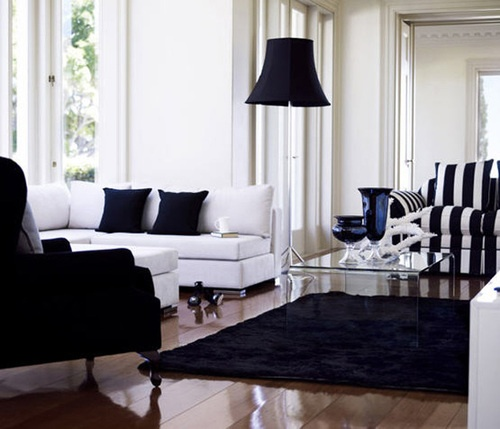 black and white: White Living Rooms, Livingrooms, Lamps Shades, Dreams, White Home, Black And White, White Rooms, Throw Pillows, Black White Interiors
