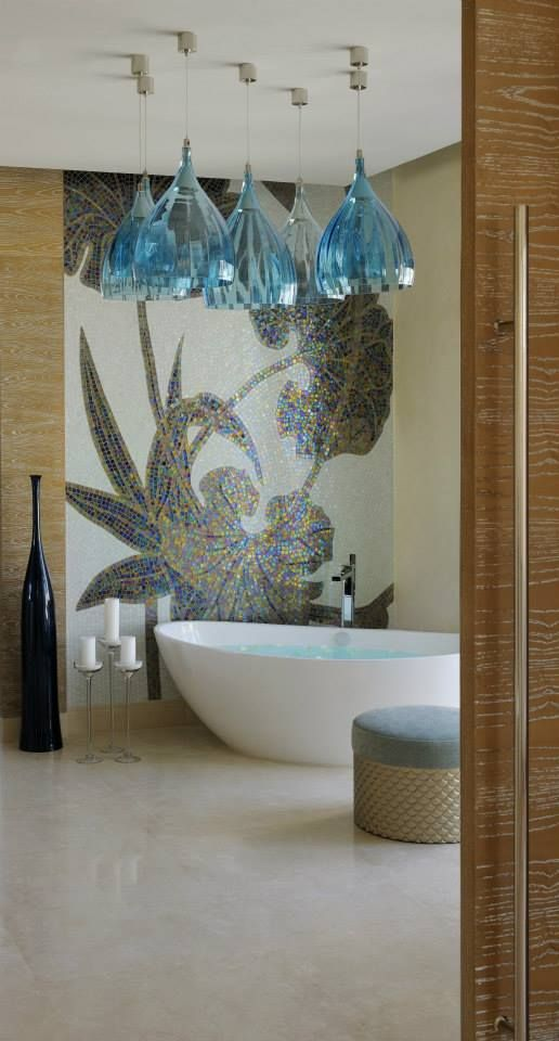 One and Only The Palm Dubai, United Arab Emirates. #hotel #restroom #modern #luxury #relaxing #light #design #blue #lotus #flower