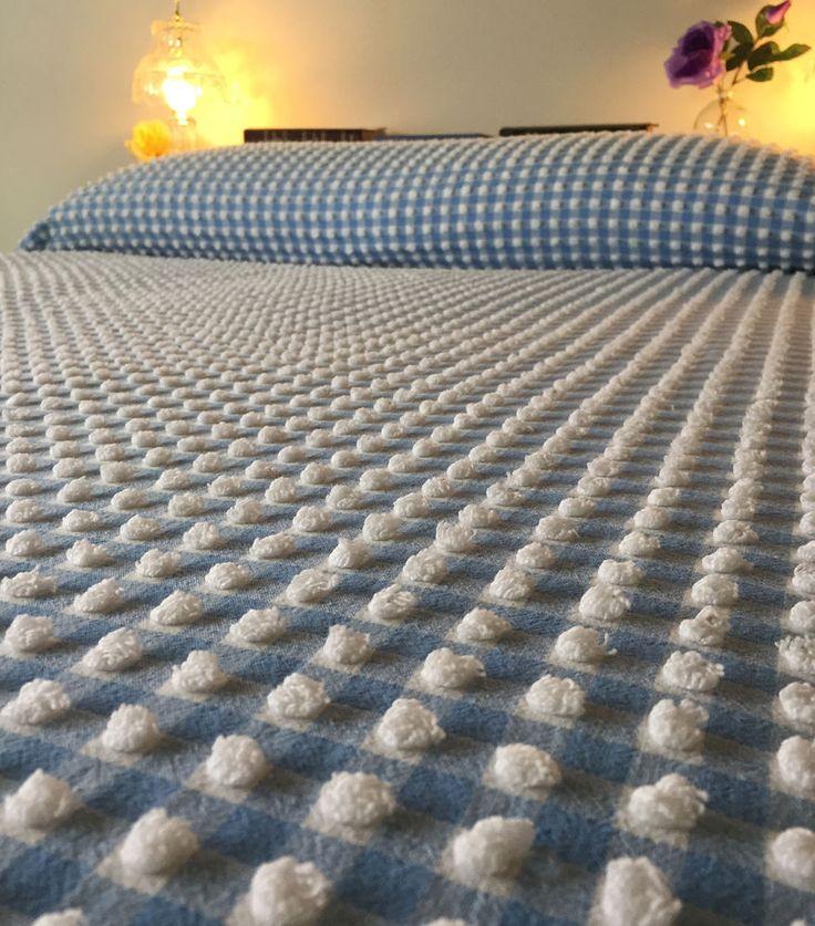 VTG Blue White GINGHAM Chenille Bedspread ** Morgan Jones * *   FULL   Size