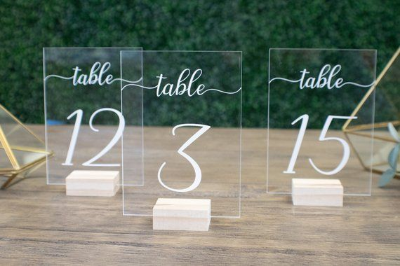 Wedding Table Numbers with Holders || Clear Acrylic Calligraphy Acrylic Number Wedding Signage Rustic Clear Wood Table Number Stand FF23P