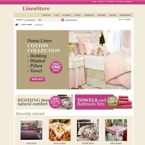 Linen Store CS-Cart Template is specially designed for Bed Linen Set. Garmonical colors combination of magenta beige and gold is the best decorate for Bed Linen Set, Blanket Duvet, Pillow, Towels Bathmats,   Cloth Kitchen, Table Сloth, Baby Bed Linen Set. It is very nice with its clean and professional look.