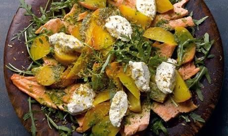 Yotam Ottolenghi: Confit trout salad with golden beetroot and ricotta  From Guardian UK