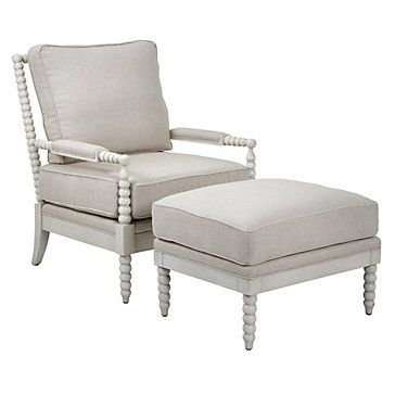 Spindle Chair & Ottoman - Dublin Natural W/White Leg | Chairs | Living Room | Furniture | Z Gallerie