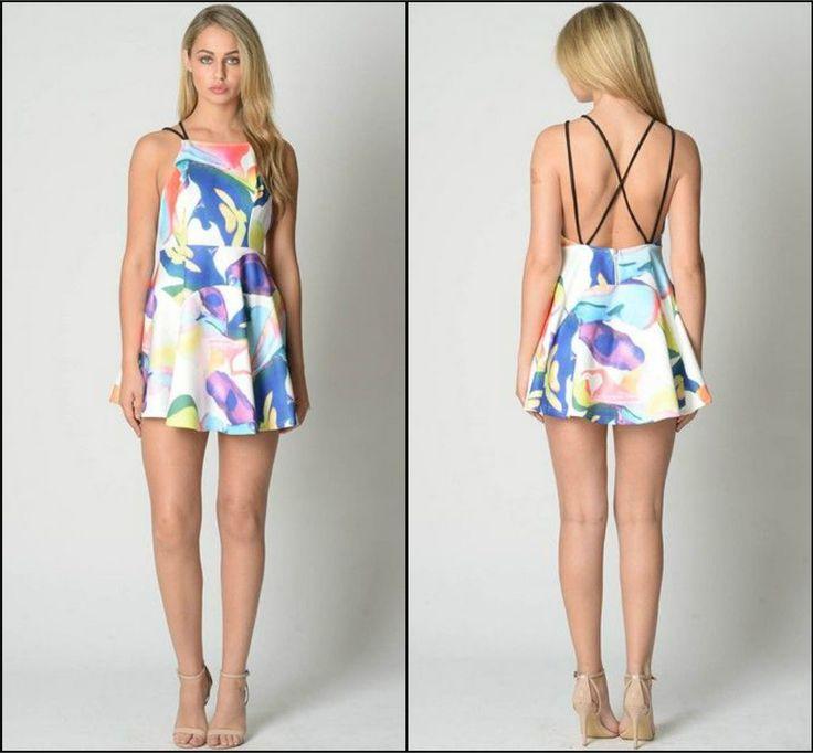 Colourful Cross-back Dress