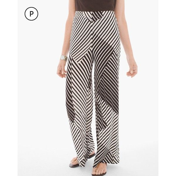 Chico's Travelers Classic Petite Patch Stripe-Print Palazzo Pants (€27) ❤ liked on Polyvore featuring pants, light chocolate chip, petite, palazzo pants, pull on pants, petite pull on pants, travel pants and elastic waist pants
