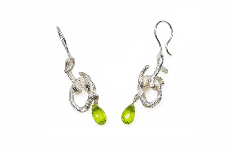 Sterling Vine Link Peridot Drop Earrings