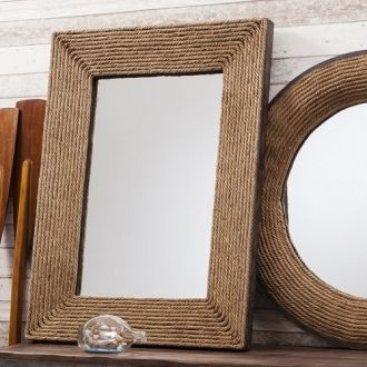 Coastal inspired mirror. A lovely deep mirror with rustic rope frame.  A matching circular mirror is also available. http://www.petersilk.co.uk/product.php/1178/rope-framed-rectangular-mirror