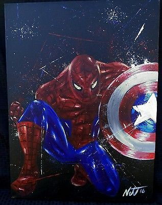 "BIG 18X24 Spiderman  Original Painting ""Hey Everyone"" Avengers Civil War"