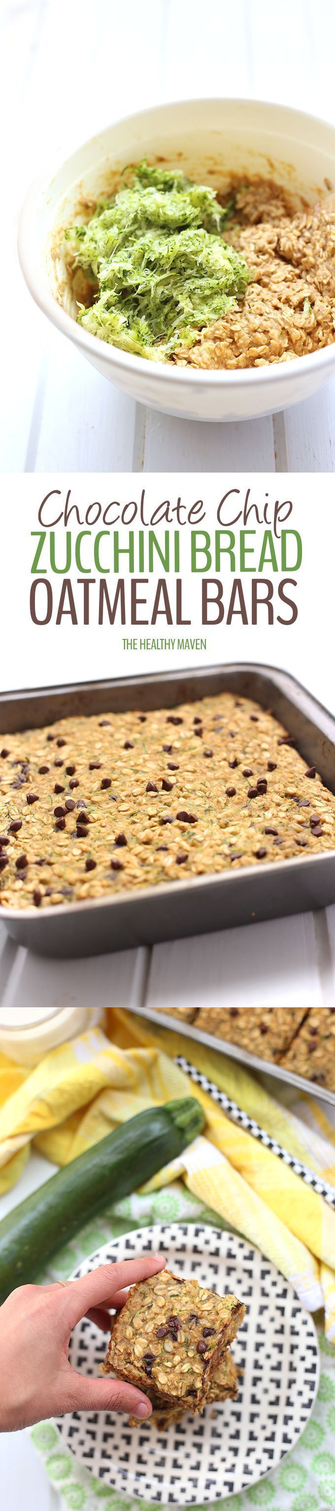 Mix your veggies and chocolate with this healthy Chocolate Chip Zucchini Bread Oatmeal Bars recipe!