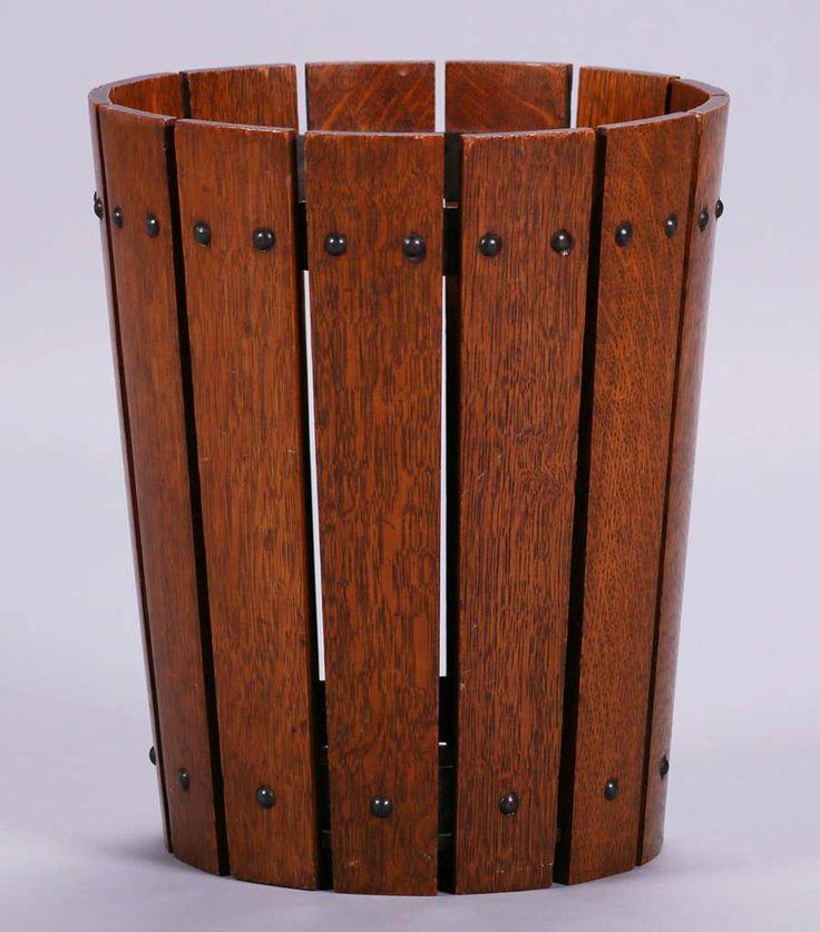 2774. Gustav Stickley oak wastebasket. Excellent original finish. Signed with paper label. 14″h x 11.75″d SOLD