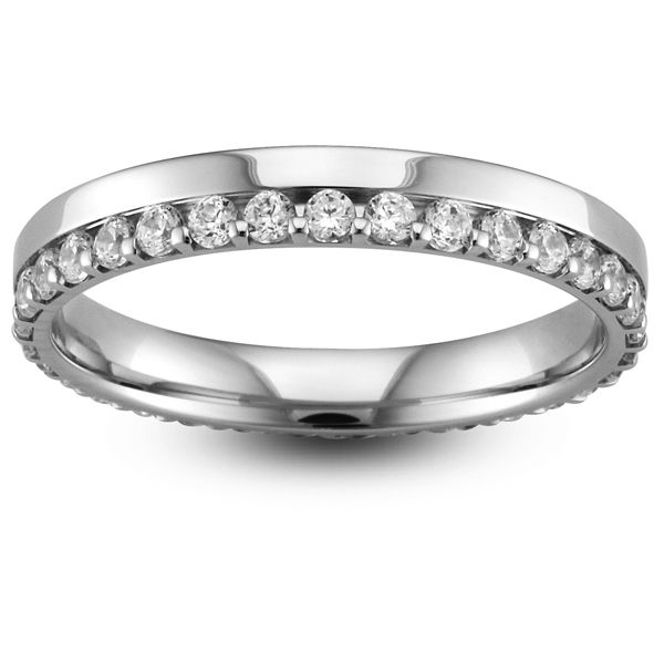 Platinum Full Eternity Brilliant Offset Diamond Ring