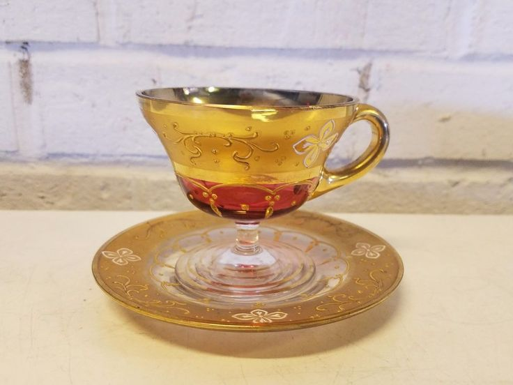 Vintage Venetian Art Glass Cup and Saucer with Gold Trim and Floral Decorations #Venetian
