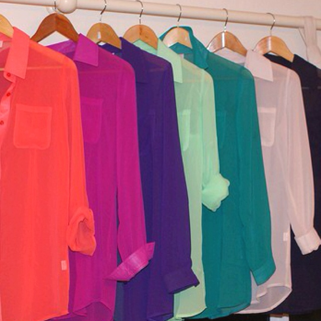 All, please and thank you. colors!: Blouses, Fashion, Style, Clothes, Sheer Blouse, Colors, Sheer Tops, Closet, Shirt