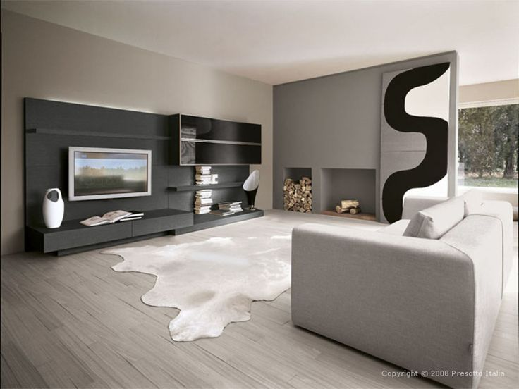 Modern Living Room with Luxury Furniture: Grey themed for modern living room decorating ideas with grey fabrics sofa on grey hardwood floor and grey area rugs also tv unit in black wall near glass wall cabinet 1831