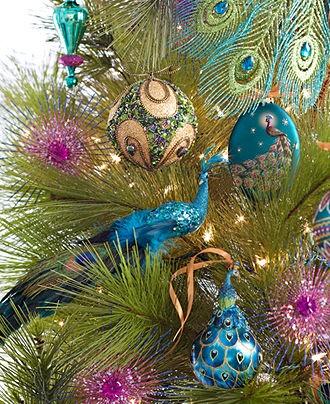Holiday Lane Christmas Ornaments, Regal Peacock Theme