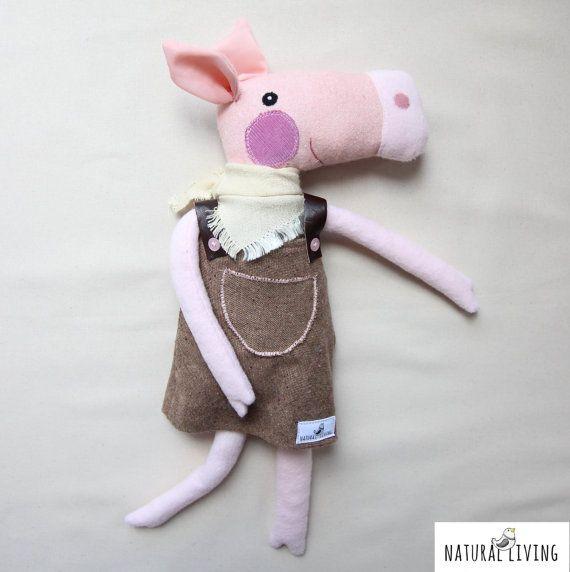 CUTE PIGGY PIG Peggy Sue in brown dress and creamy bandana