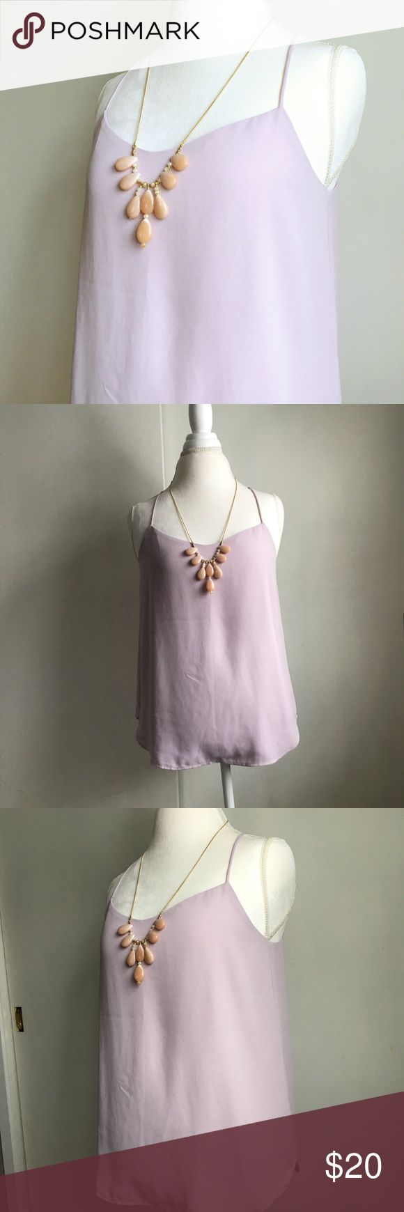 loft lavender racer back cami Ann Taylor LOFT lavender racer back  cami. Skinny straps, flowy fit. Size small. Worn just a couple times and in excellent condition. / Ann Taylor, AT, LOFT, outlet, cami, blouse, top, tank, shirt, layer, layered, lavender, purple, racer back, razor back, straps, spaghetti strap, strappy / LOFT Tops