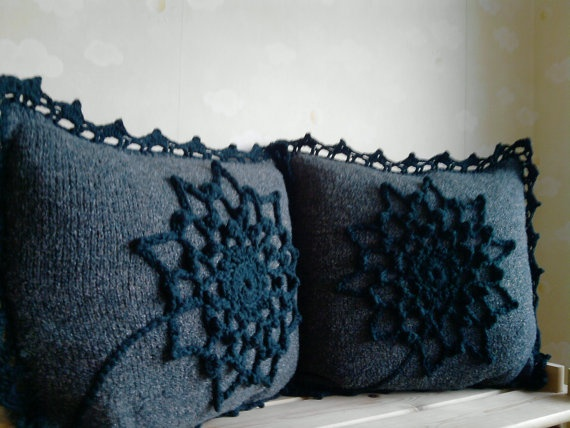 Romantic hand knit pillow cover with crochet flower and by ELITAI,