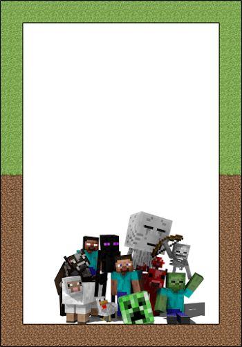 Marcos, Invitaciones, Tarjetas o Etiquetas de Minecraft para Imprimir Gratis.