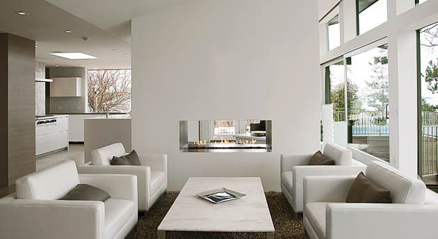 Linear, monotone, beautiful. Contemporary double-sided gas fireplace - Spark Modern Fires.