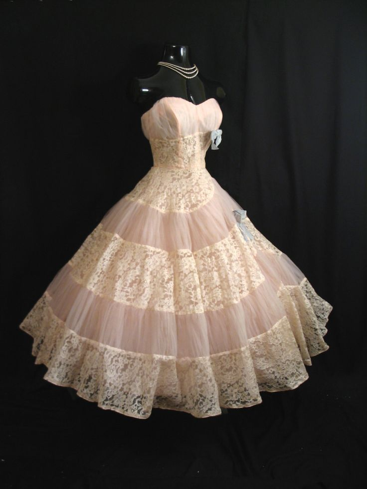 Vintage 1950's 50s STRAPLESS Emma Domb Pink Ivory Tulle Embroidered Lace Party Prom DRESS