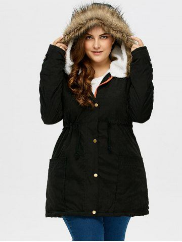 Plus Size Drawstring Hooded Parka Coat With Fur Collar 2