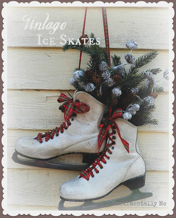 Vintage Altered Ice Skates - A Winter Wonderland for your Front Door.