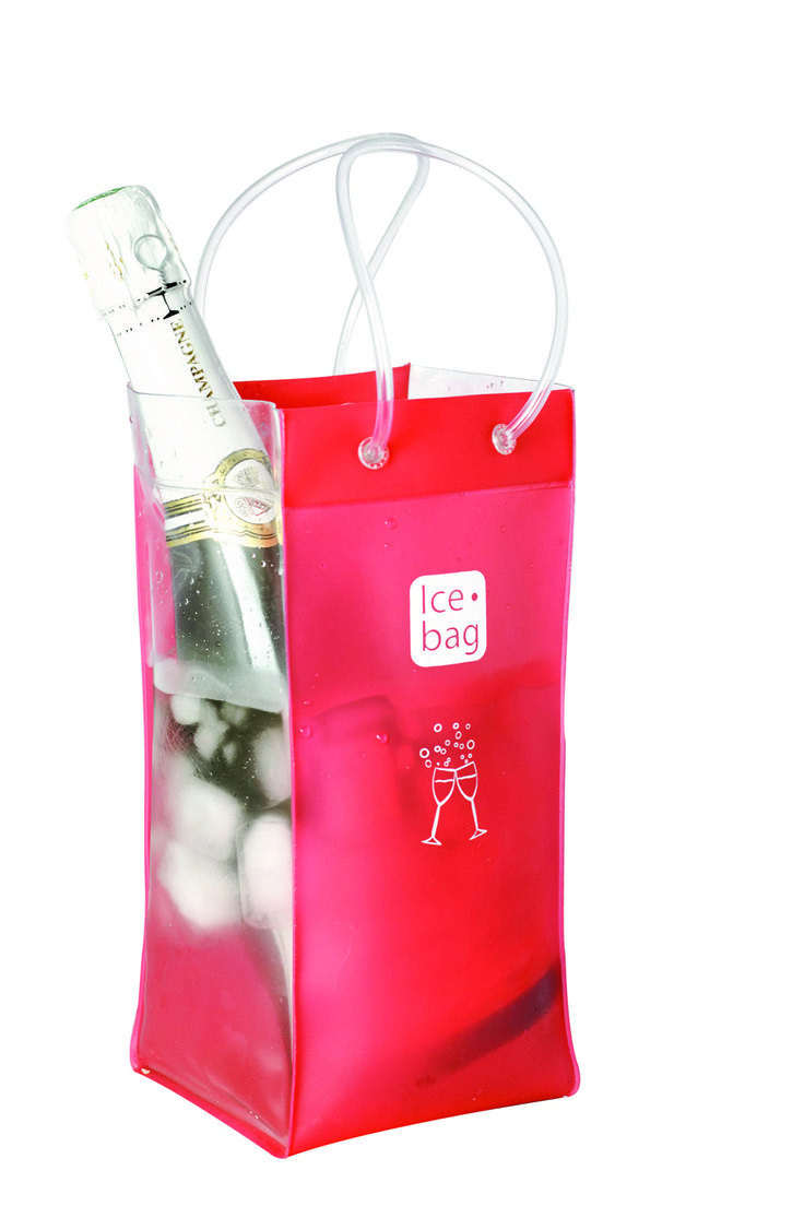 4213 Icebag Bi-Colour Red  Product Description  Made from durable PVC plastic, the Ice Bag® is water tight, light weight, flexible and folds flat for easy storage. Small and easy to carry – saves table space and goes anywhere with your bottle Original, trendy and suitable for every occasion all year Economical – it chills faster than a traditional ice bucket Retail Packaging Colour: Red & Clear
