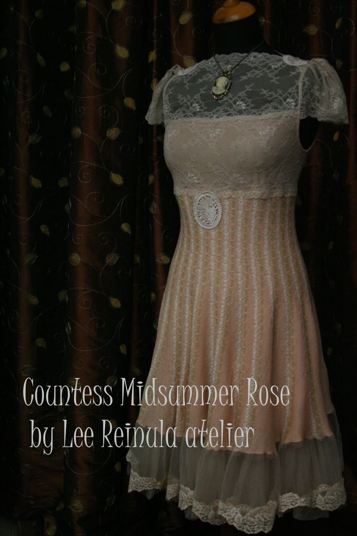 Knitted dress Countess Midsummer Rose by Lee Reinula 2014, merino and lace
