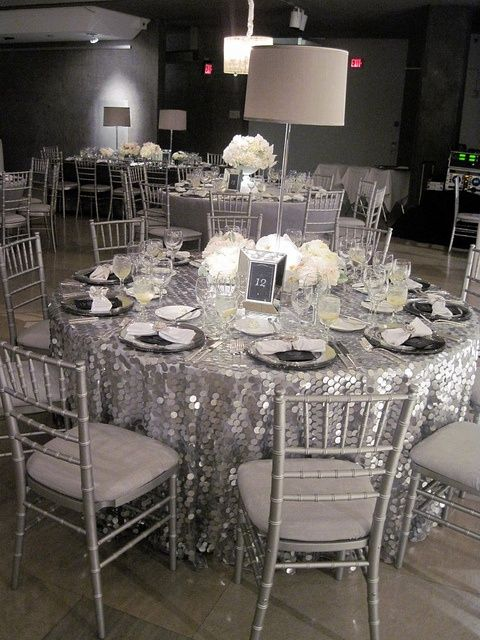 Ultimate Glamour With Silver Payette Sequin Tablecloth